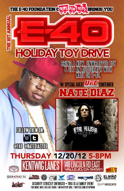E-40 and UFC Lightweight contender Nate Diaz, U.S. Marines' Toys For Tots